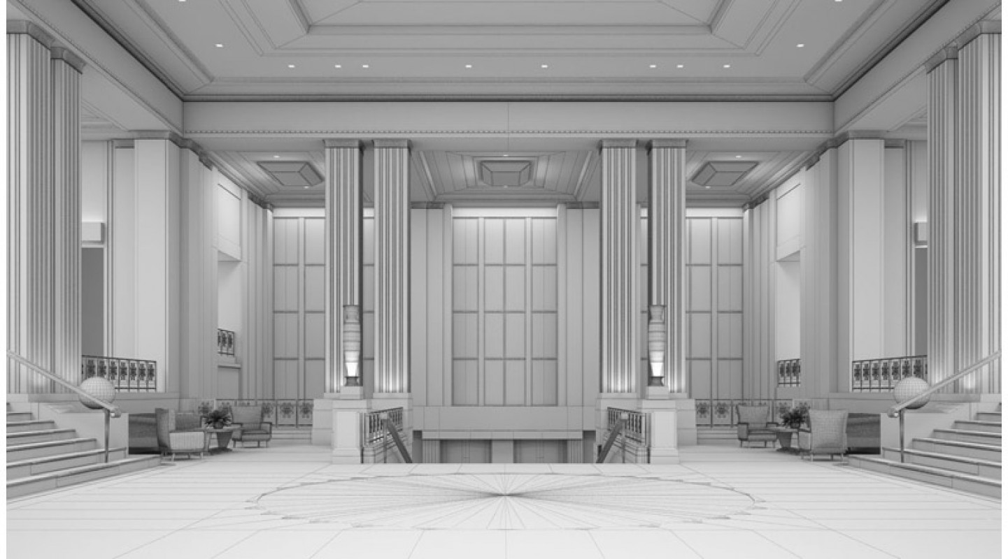 Art deco hotel lobby 3d library 3d scenes interior for Interieur art deco
