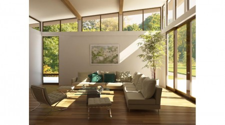 living room with green