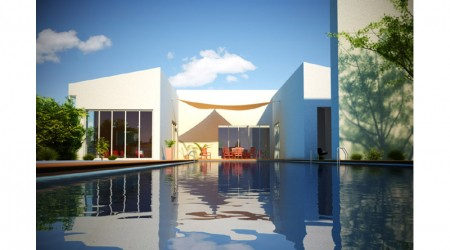 architect villa with large pool white