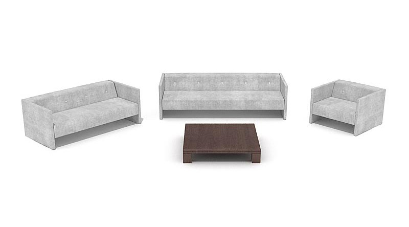 Trio of gray sofas