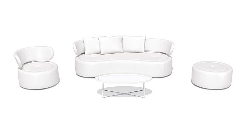 Living room set in white leather