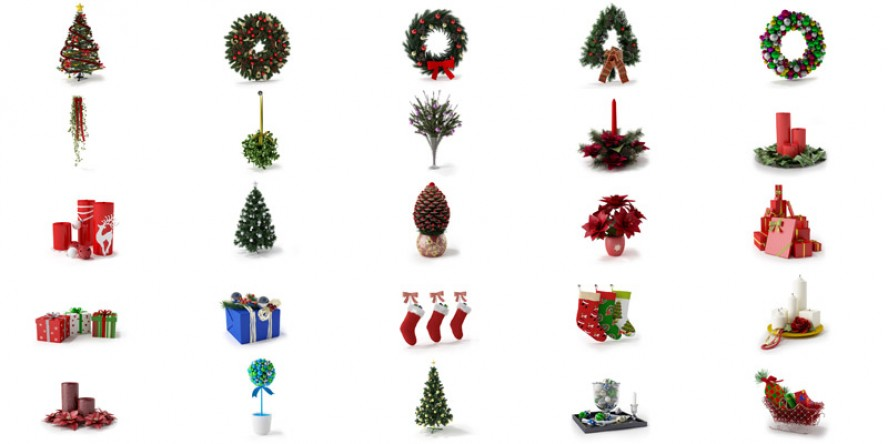 pack 3d Christmas decorations vol 1