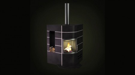 wood stove and storage
