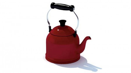 Red steel teapot