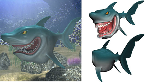 requin cartoon modele 3d