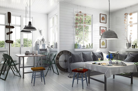 Interieur salon cosy 3d 3d library blog3d library blog for Exterieur scandinave